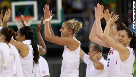 Elena Delle Donne (center) and the rest of Team USA celebrate their 110-84 win over Serbia in the Rio 2016 Olympic Games.