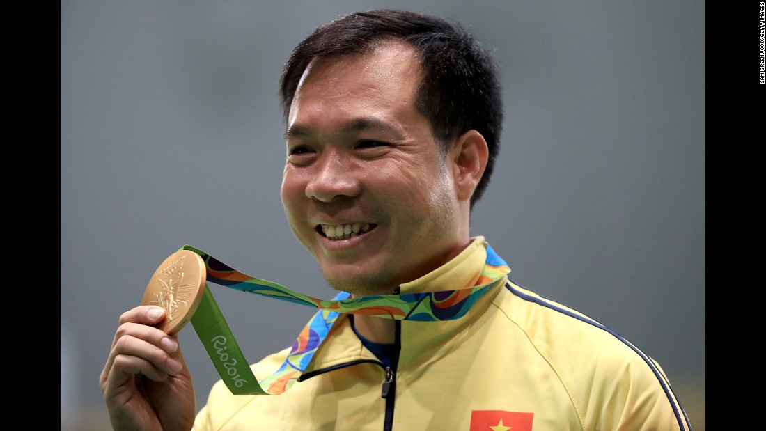 Vietnam's Hoang Xuan Vinh is bringing home his country's first gold after he won the men's 10-meter air pistol shooting event.