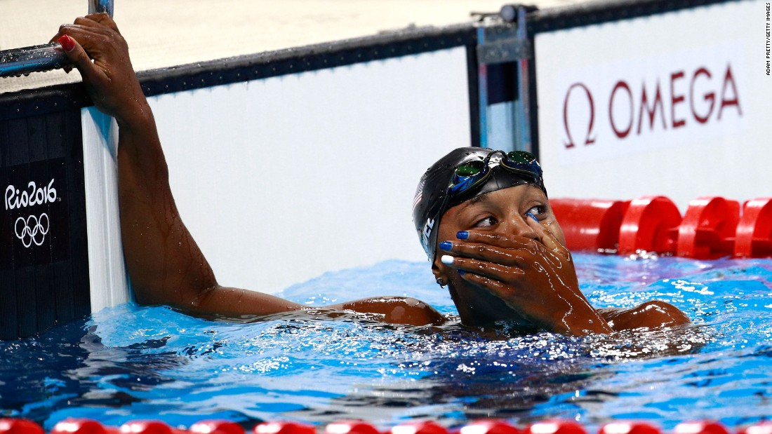 No matter where she appeared on the podium for the women's 100-meter freestyle, U.S. swimmer Simone Manuel would have made history. However, she blew it out of the water, so to speak, when she unexpectedly tied for the gold.