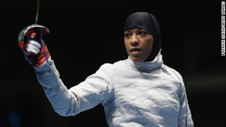 RIO DE JANEIRO, BRAZIL - AUGUST 08:  Ibtihaj Muhammad of the United States looks on during the Women's Individual Sabre on Day 3 of the Rio 2016 Olympic Games at Carioca Arena 3 on August 8, 2016 in Rio de Janeiro, Brazil.  (Photo by Patrick Smith/Getty Images)