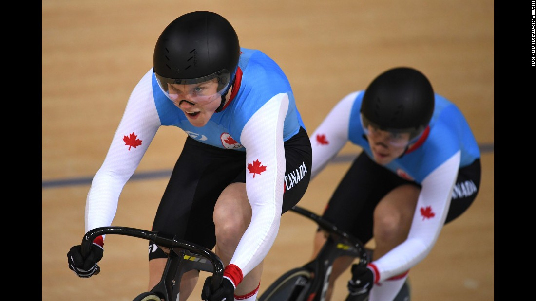 Canada's Kate O'Brien and Monique Sullivan compete in team sprint qualifying.