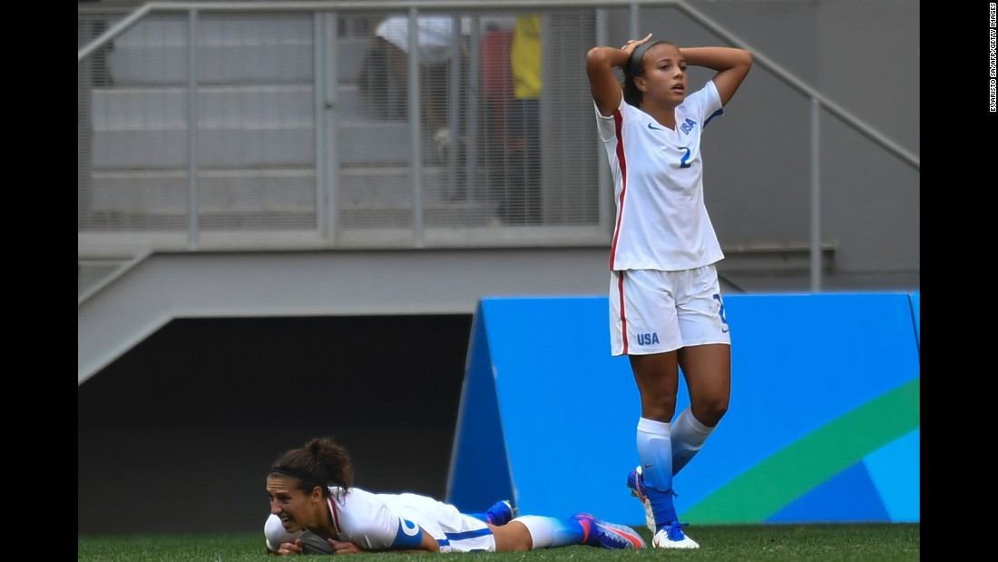 "U.S. soccer players Mallory Pugh, right, and Carli Lloyd react during their<a href=""http://www.cnn.com/2016/08/12/football/usa-sweden-football-olympics/index.html"" target=""_blank""> quarterfinal loss to Sweden.</a> Sweden won on penalty kicks after a 1-1 draw in extra time. It was the United States' first Olympic loss since 2000."