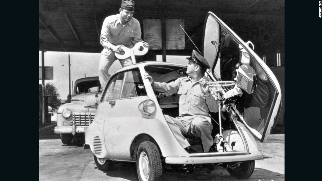 The most distinctive design element on the Isetta was its door - which was, in effect, the entire front bodywork of the vehicle. It opened up to offer surprisingly easy access.