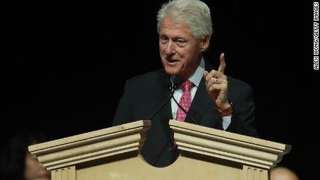 Former U.S. President Bill Clinton speaks on behalf of his wife and Democratic presidential nominee Hillary Clinton during a 2016 Presidential Election Forum, hosted by Asian and Pacific Islander American Vote (APIAVote) and Asian American Journalists Association (AAJA), at The Colosseum at Caesars Palace August 12, 2016 in Las Vegas, Nevada.