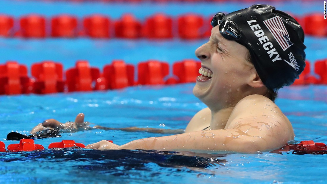 U.S. swimmer Katie Ledecky celebrates after setting a new world record in the 800-meter freestyle on Friday, August 12. It was her fourth gold medal in Rio and the fifth of her Olympic career. She also won the 800 free in London four years ago.