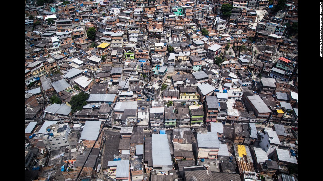 An aerial view of the Complexo do Alemão favela. In 2010, the Brazilian government launched a military operation to clear the favela of drug traffickers. But Miranda said there is still violence.