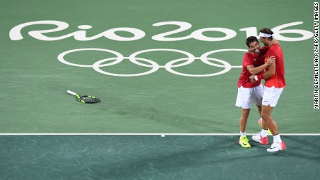 Spain's Rafael Nadal and Marc Lopez celebrate after winning the men's doubles final in Rio.