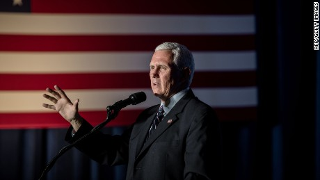 Mike Pence addresses a rally in the Crystal Ballroom at the Hilton Milwaukee City Center in Milwaukee, Wisconsin on August 11, 2016.