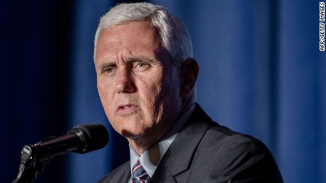 Mike Pence addresses a rally in the Crystal Ballroom at the Hilton Milwaukee City Center in Milwaukee, Wisconsin on August 11, 2016. v
