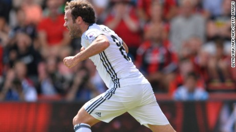 Juan Mata opened Manchester United's EPL account under Mourinho with the opener at  Bournemouth.