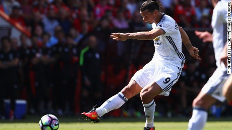 Zlatan Ibrahimovic powers home Manchester United's third goal in the 3-1 win at Bournemouth on his EPL debut.