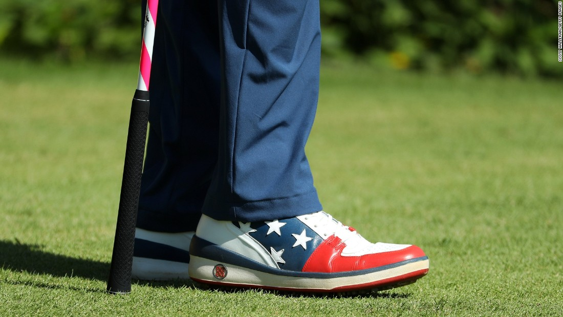 "Bubba Watson's shoes are seen during the final round of men's golf, <a href=""http://cnn.com/2016/08/14/sport/justin-rose-olympic-golf/index.html"" target=""_blank"">won by Britain's Justin Rose.</a>"
