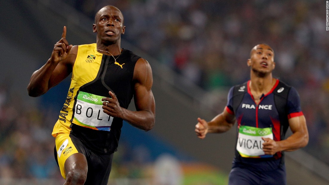 "Usain Bolt of Jamaica wins the men's 100m final,<a href=""http://www.cnn.com/2016/08/14/sport/usain-bolt-justin-gatlin-olympic-games-100-meters-rio/index.html"" target=""_blank""> becoming the first Olympic sprinter to win three consecutive 100-meter gold medals.</a>"