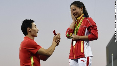 China's He Zi was caught off guard by her boyfriend's dramatic proposal Sunday.