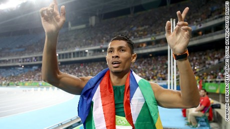 RIO DE JANEIRO, BRAZIL - AUGUST 14:  Wayde van Niekerk of South Africa reacts after winning the Men's 400 meter final on Day 9 of the Rio 2016 Olympic Games at the Olympic Stadium on August 14, 2016 in Rio de Janeiro, Brazil.  (Photo by Cameron Spencer/Getty Images)