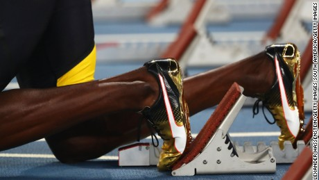 Bolt's golden shoes ahead of a golden performance.