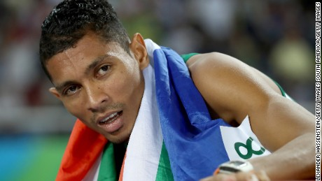 RIO DE JANEIRO, BRAZIL - AUGUST 14:  Wayde van Niekerk of South Africa reacts after winning the Men's 400 meter final on Day 9 of the Rio 2016 Olympic Games at the Olympic Stadium on August 14, 2016 in Rio de Janeiro, Brazil.  (Photo by Alexander Hassenstein/Getty Images)