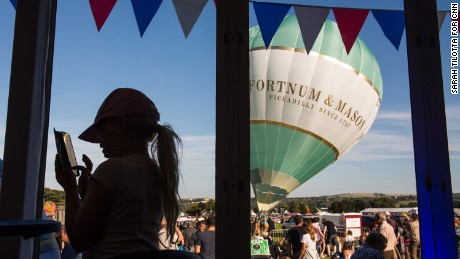 This balloon, from London grocery store Fortnum & Mason, was the first to lift off during a mass ascent Saturday. A total of 71 balloons took off that evening.