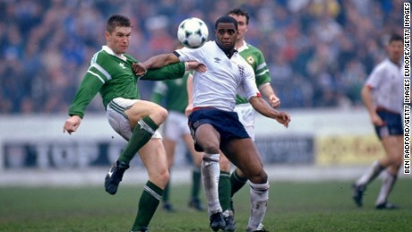Dalian Atkinson contests the ball during an appearance for the England B team in 1990.