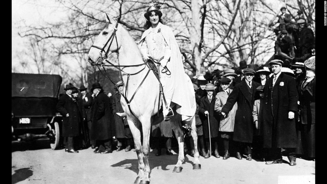 In March 1913, the National American Women Suffrage Association organized the Woman Suffrage Procession in Washington. The march took place the day before Woodrow Wilson's inauguration to maximize exposure. Inez Milholland, a labor lawyer, suffragist and World War I correspondent, started off the procession on a white horse.