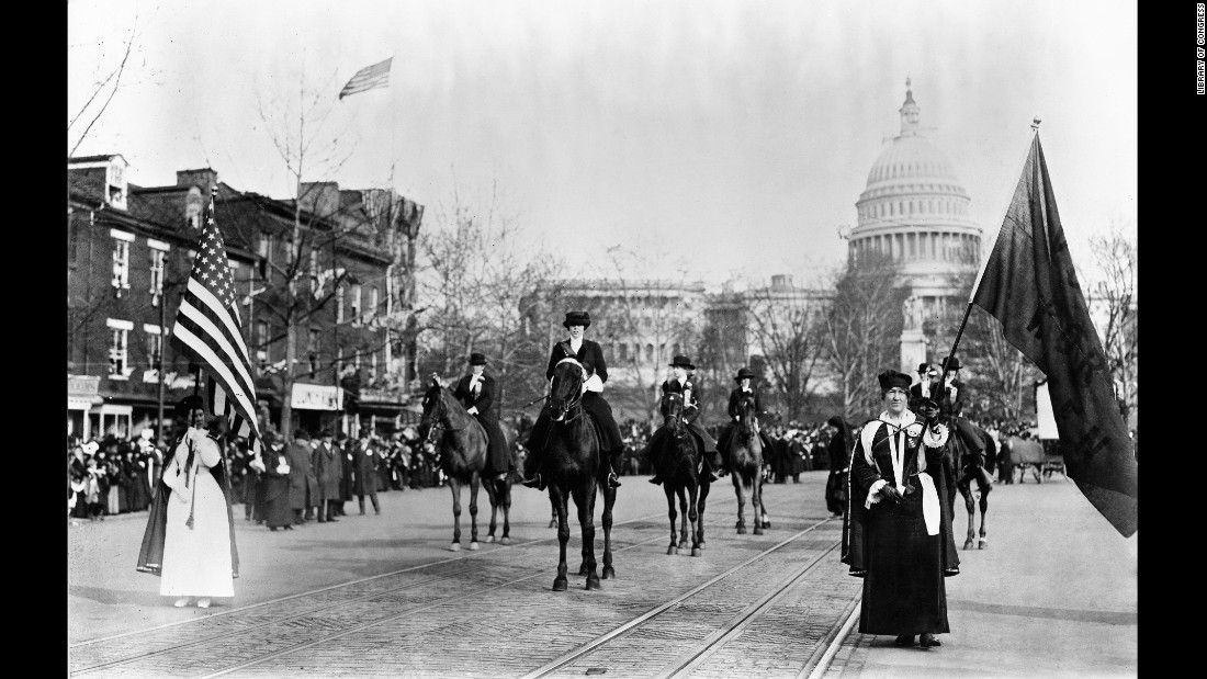 The procession included nine bands, five mounted brigades, 26 floats and nearly 8,000 marchers.