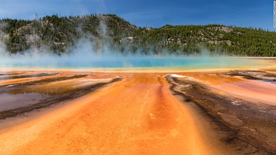 Colors pop at Grand Prismatic Spring in Yellowstone National Park, which the McGraws visited in early August.