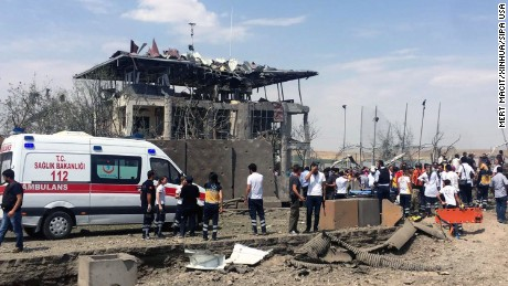 An ambulance arrives at the scene of a vehicle bombing Monday near Diyarbakir, Turkey.