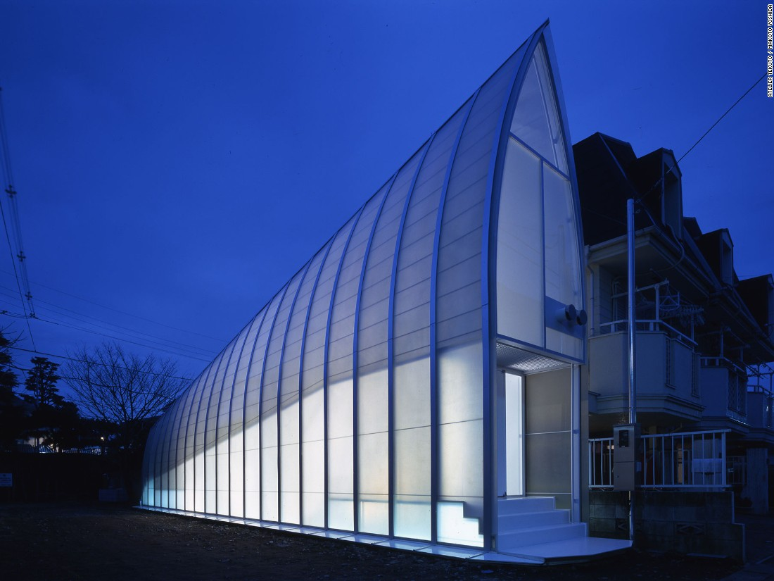 In Japan, there's a saying that the last drop of wine is the luckiest. That was Atelier Tekuto's inspiration for Lucky Drops, built on a discarded scrap of land in an irregular trapezoid shape.