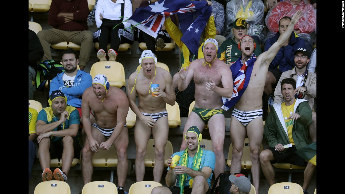 Australia fans show support for their team during a water polo match against Japan on Wednesday, August 10.