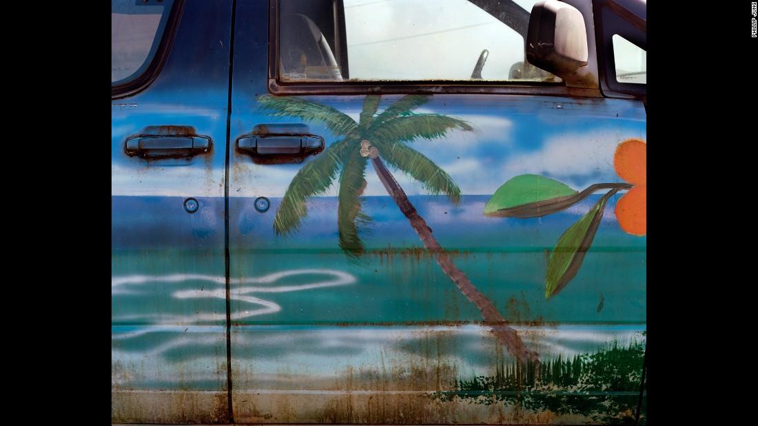 A beach-themed car exterior.