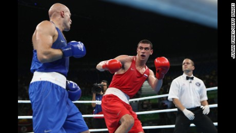 Tishchenko of Russia fights Levit of Kazakhstan for the gold medal in the mens heavyweight 91kg, Rio Olympics.