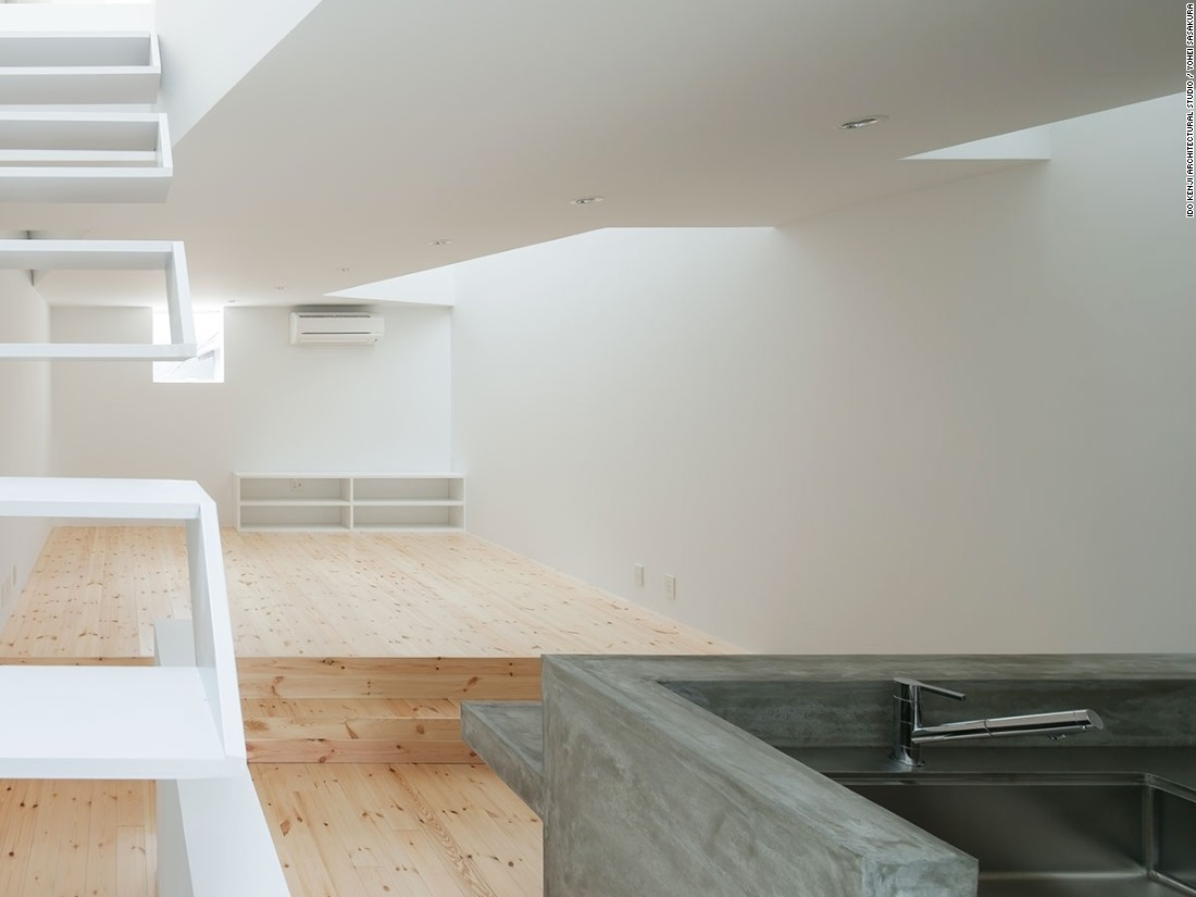 This 1,016-square-foot address is situated in Osaka and designed by Ido Kenji Architectural Studio. A home for a family of four, the architects designed the living area to be as spacious as possible.