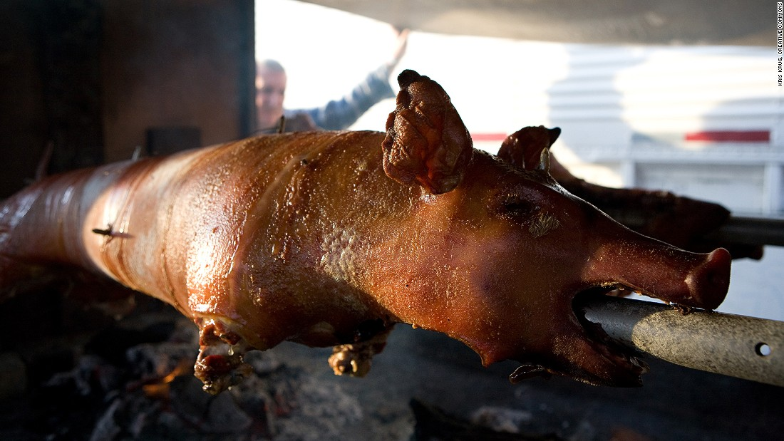 The Philippines' lechon is a whole suckling pig spit-roasted over a charcoal bed or in an oven. The island of Cebu is often considered to serve the best lechon in the country.