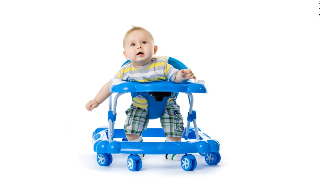 """The American Academy of Pediatrics has <a href=""""https://www.healthychildren.org/English/safety-prevention/at-home/Pages/Baby-Walkers-A-Dangerous-Choice.aspx"""" target=""""_blank"""">called for a ban on the manufacture and sale of baby walkers</a> with wheels because children can roll down stairs and become injured. They can also roll into pools or other water and get closer to items that will burn or poison them."""