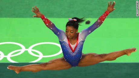 Simone Biles on the floor Tuesday
