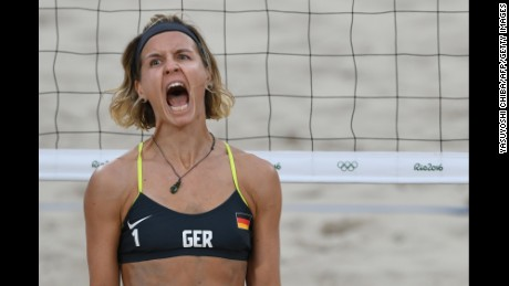 German beach volleybal player Laura Ludwig, shown here during the semi-finals, was booed whenever she served to the Brazilian team in the gold medal match.