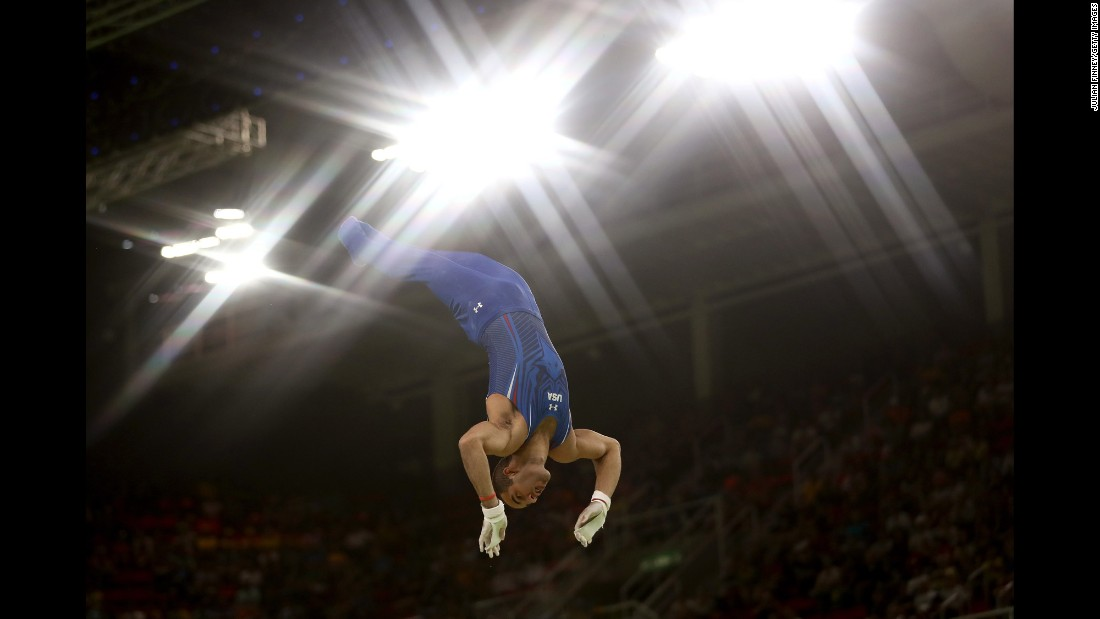 U.S. gymnast Danell Leyva competes on the horizontal bar, where he won silver. He also got silver on the parallel bars.