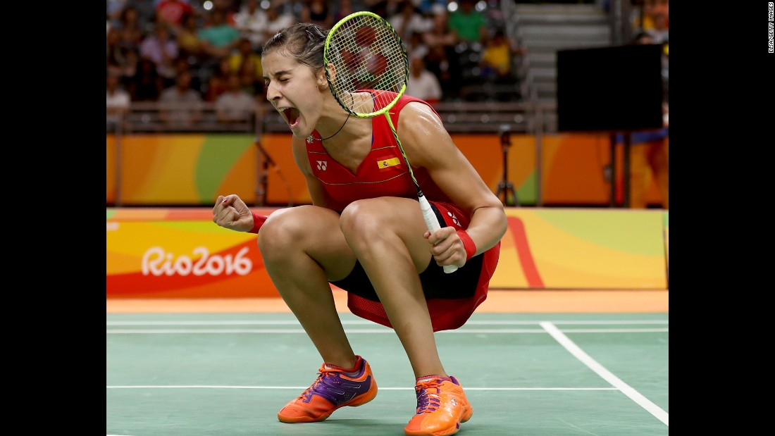 Spain's Carolina Marin celebrates a victory in the badminton quarterfinals.