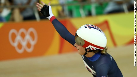 RIO DE JANEIRO, BRAZIL - AUGUST 15:  Laura Trott of Great Britain celebrates after the Cycling Track Women's Omnium Elimination Race 3\6 on Day 10 of the Rio 2016 Olympic Games at the Rio Olympic Velodrome on August 15, 2016 in Rio de Janeiro, Brazil.  (Photo by Bryn Lennon/Getty Images)