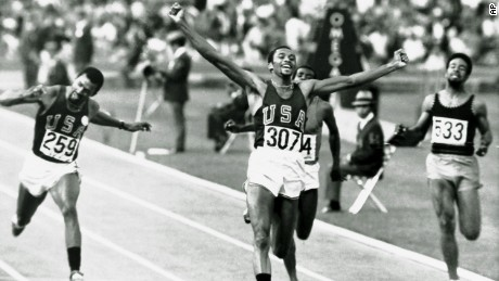 Tommie Smith winning the 200 meters in Mexico City on Oct. 16, 1968. Teammate John Carlos (259) finished third.
