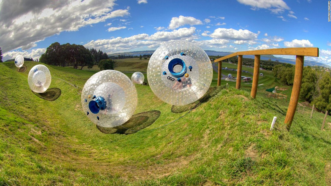 Zorbing -- rolling downhill while protected inside a giant plastic ball -- was invented in Rotorua. There are multiple ride options at OGO.