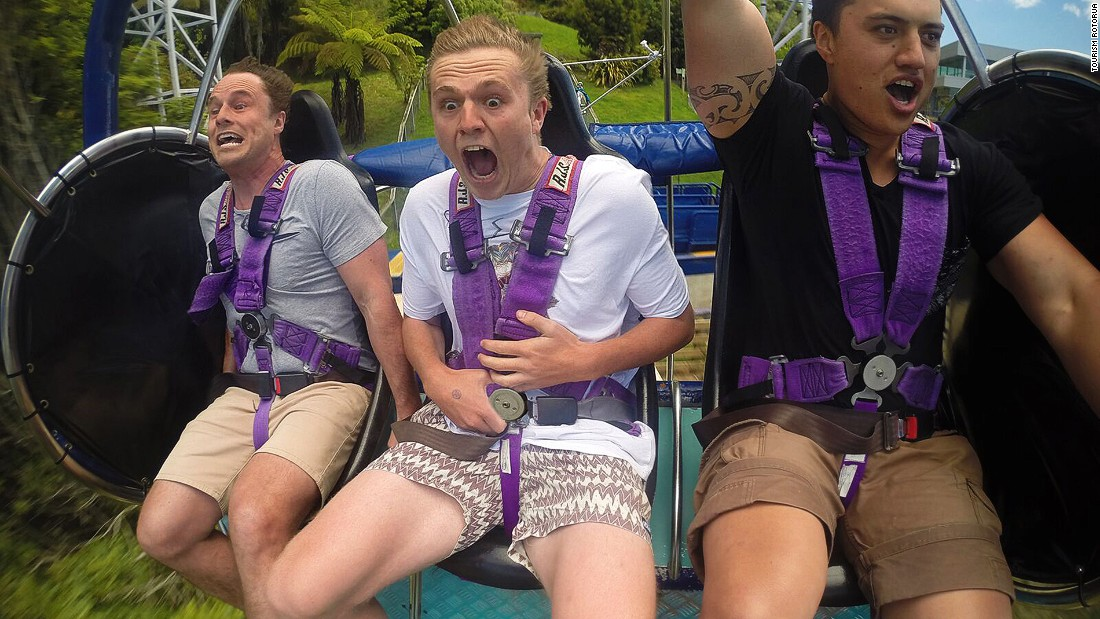 Challenge: As you're catapulting out over Rotorua, see if you can pull an even more terrified face than this dude.