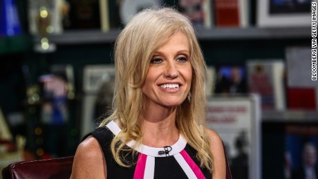 """Kellyanne Conway, president and chief executive officer of Polling Co. Inc./Woman Trend, smiles during an interview on """"With All Due Respect"""" in New York, U.S., on Tuesday, July 5, 2016. Asked how Trump reassures conservatives about his positions on issues such as abortion without losing ground with voters in the center, Republican pollster Conway, one of Trump's new senior strategists, said he would work to shift the spotlight to Clinton. Photographer: Chris Goodney/Bloomberg via Getty Images"""