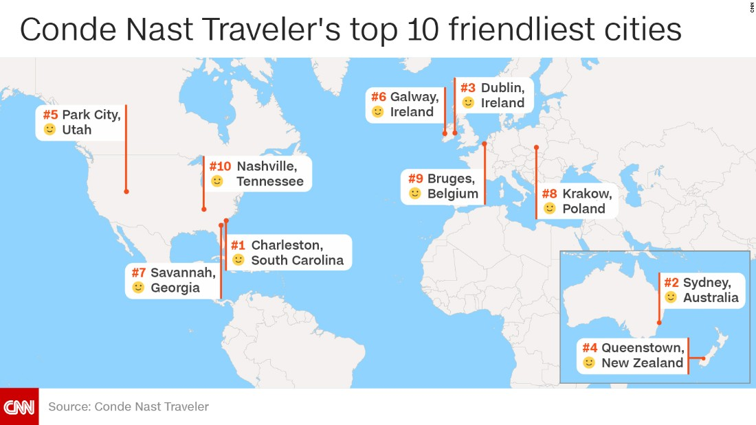 The world's friendliest cities, according to Conde Nast ...