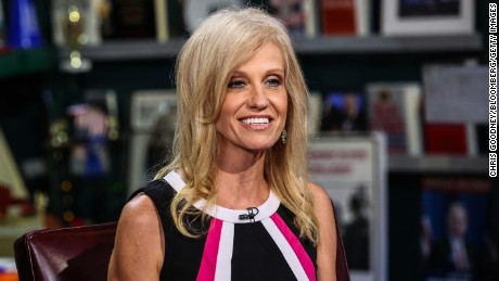 "Kellyanne Conway, president and chief executive officer of Polling Co. Inc./Woman Trend, smiles during an interview on ""With All Due Respect"" in New York, U.S., on Tuesday, July 5, 2016. Asked how Trump reassures conservatives about his positions on issues such as abortion without losing ground with voters in the center, Republican pollster Conway, one of Trump's new senior strategists, said he would work to shift the spotlight to Clinton."