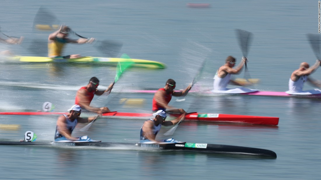 Canoe teams take part in a K-2 200-meter semifinal.