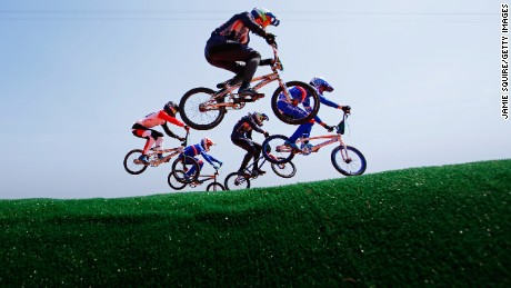 \Kyle Evans (front) of Great Britain and other riders practice prior to the Cycling - BMX Seeding Run on day 12 of the Rio 2016 Olympic Games at The Olympic BMX Centre.