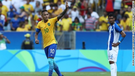 Neymar celebrates scoring against Honduras in the countries' Olympic semifinal match.