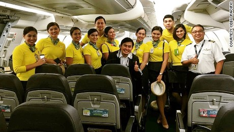 The Cebu Pacific crew on duty during the birth