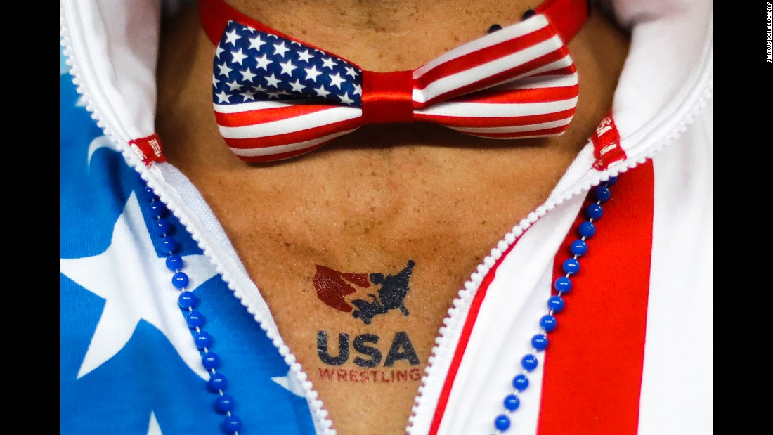 A U.S. fan attends a women's freestyle wrestling match.
